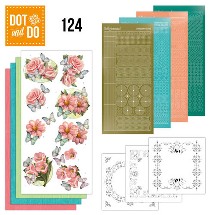 Dot and Do Kit #124 -  Pink Flowers & Butterflies