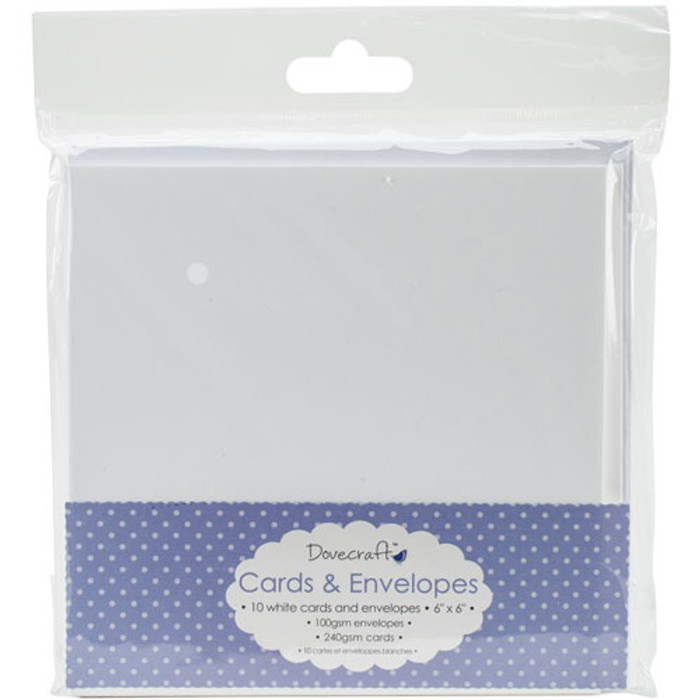 "Dovecraft Cards & Envelopes 6"" x 6"" - White 10 Pack DCCE025"