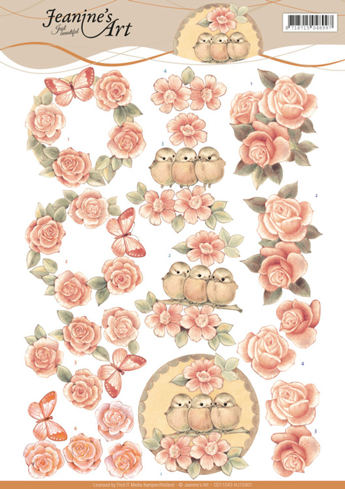 3D Cutting Sheet Jeanines Art - Vintage Roses  CD11043