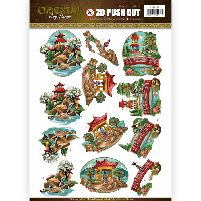 3D Die-Cut Sheet  Amy Design  - Oriental - Landscapes SB10249