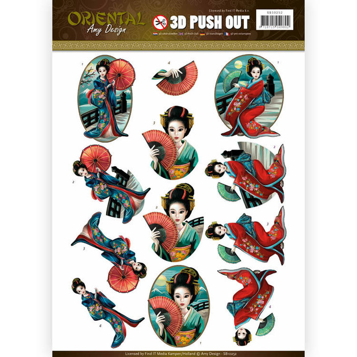 3D Die-Cut Sheet  Amy Design  - Oriental Geishas  SB10252