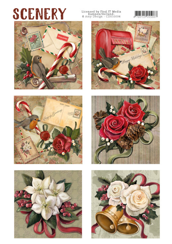 Die Cut Topper - Scenery - Christmas Roses CD10004
