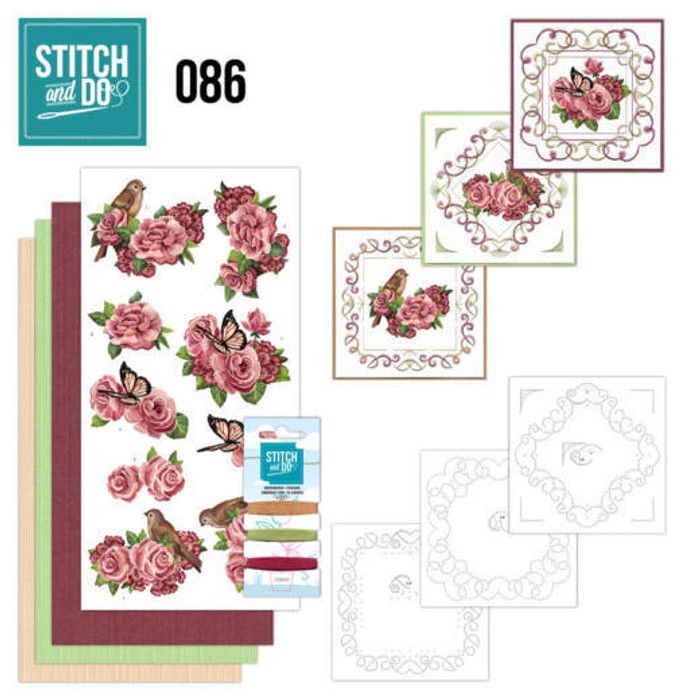 Stitch and Do 86 - Card Embroidery Kit - Birds & Roses