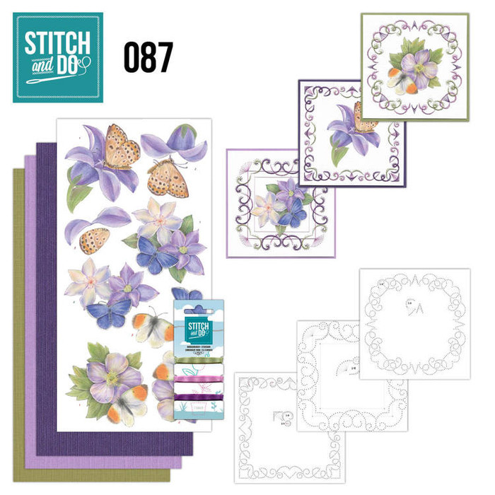 Stitch and Do 87 - Card Embroidery Kit - Purple Flowers