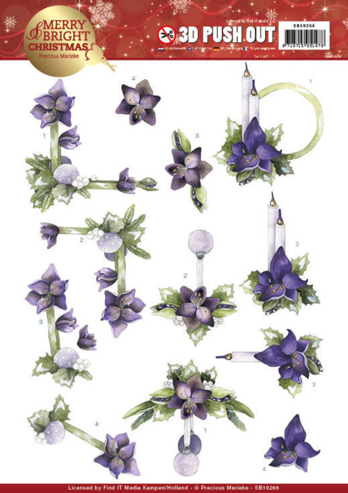 3D Die-Cut Sheet Precious Marieke  - Merry and Bright Christmas - Amaryllis in Purple SB10266