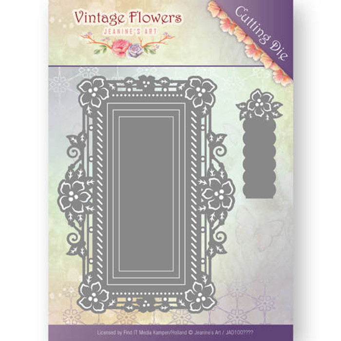 Jeanine's Art Vintage Flowers  Die -  FLORAL RECTANGLE JAD10035