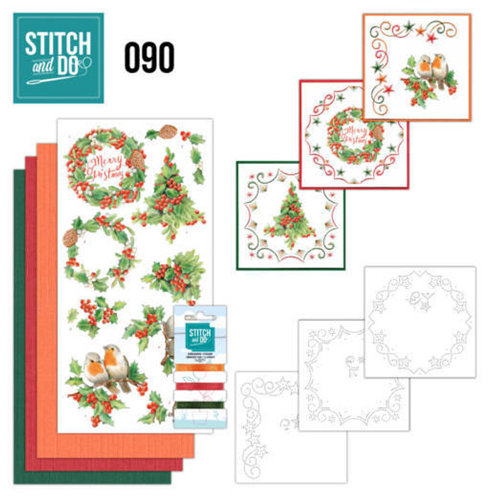 Stitch and Do 90 - Card Embroidery Kit - Merry Christmas