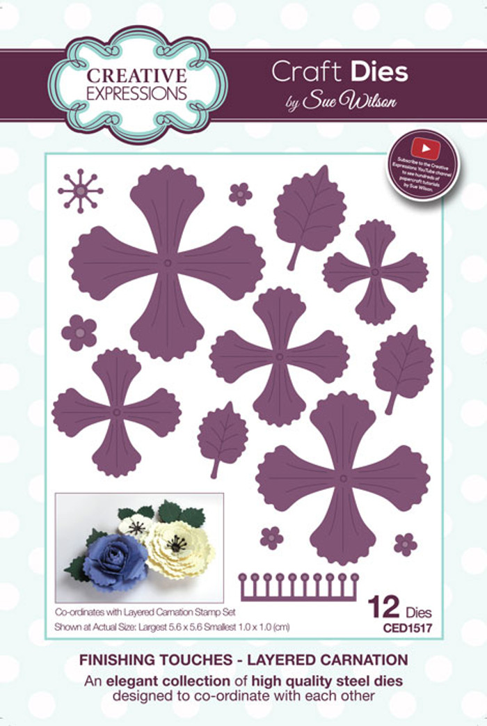 Sue Wilson Finishing Touches Collection Die -  Layered Carnation CED1517