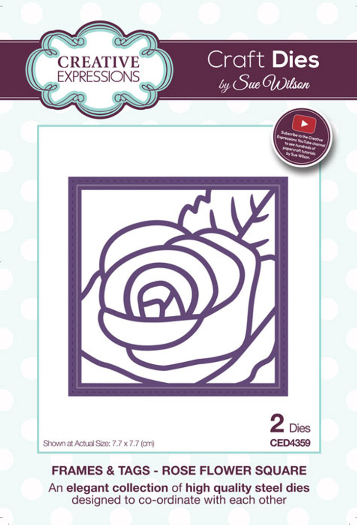 Sue Wilson Frames & Tags Collection Die - Rose Flower Square CED4359