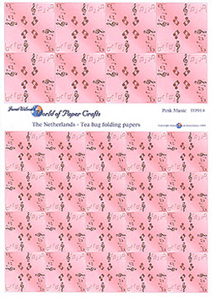 Pink Music Tea Bag Folding Paper