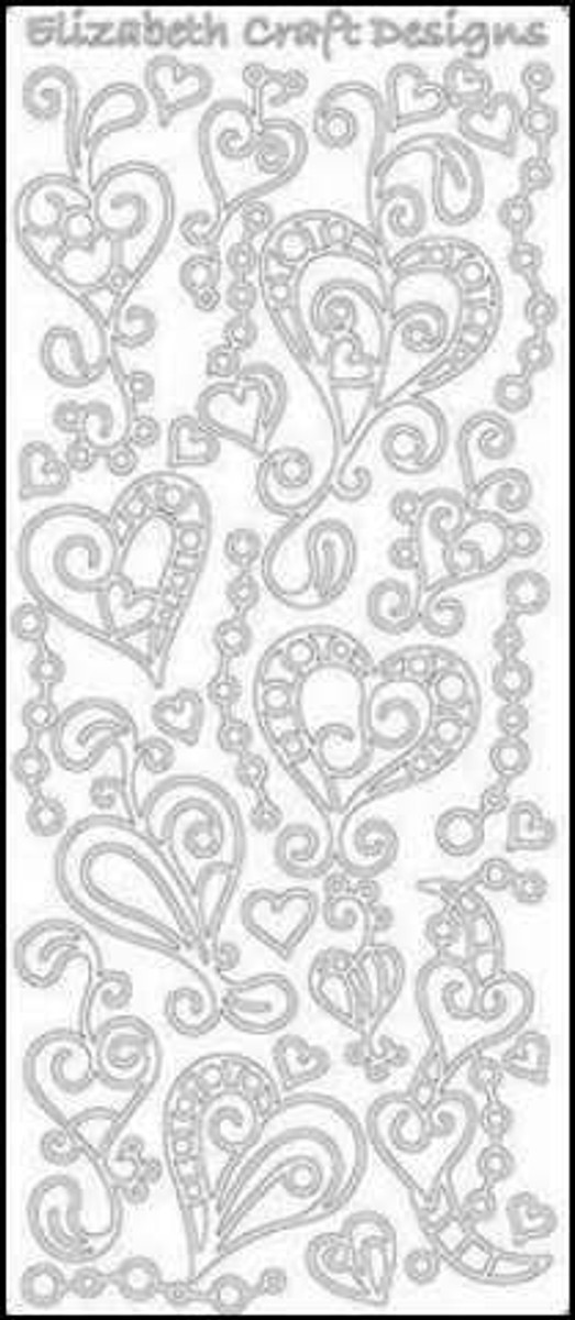 Elizabeth Craft Peel-Off Sticker Doodle - Hearts GOLD 358