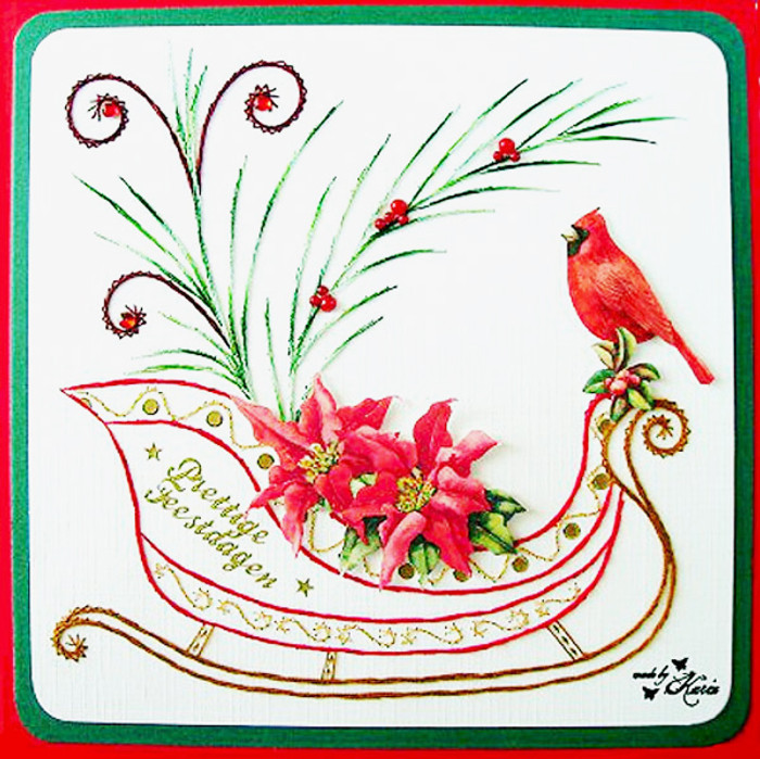 Karin's Creations Card Stitching e-Pattern - Red Majestic Sleigh KC021e