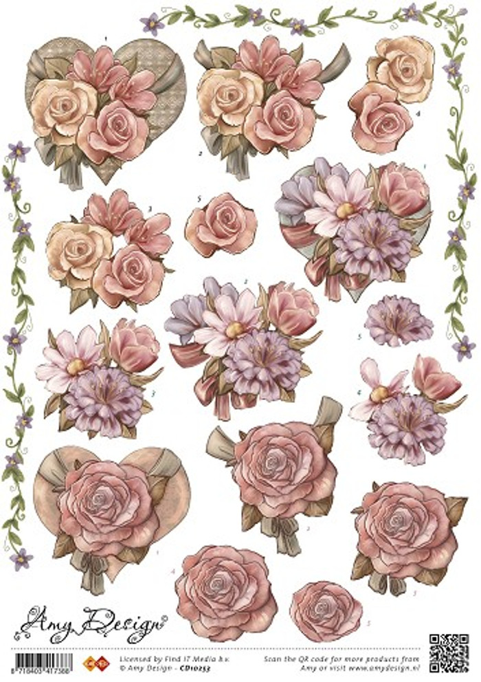 3D Sheet Amy Design  - Flowers/Heart CD10253