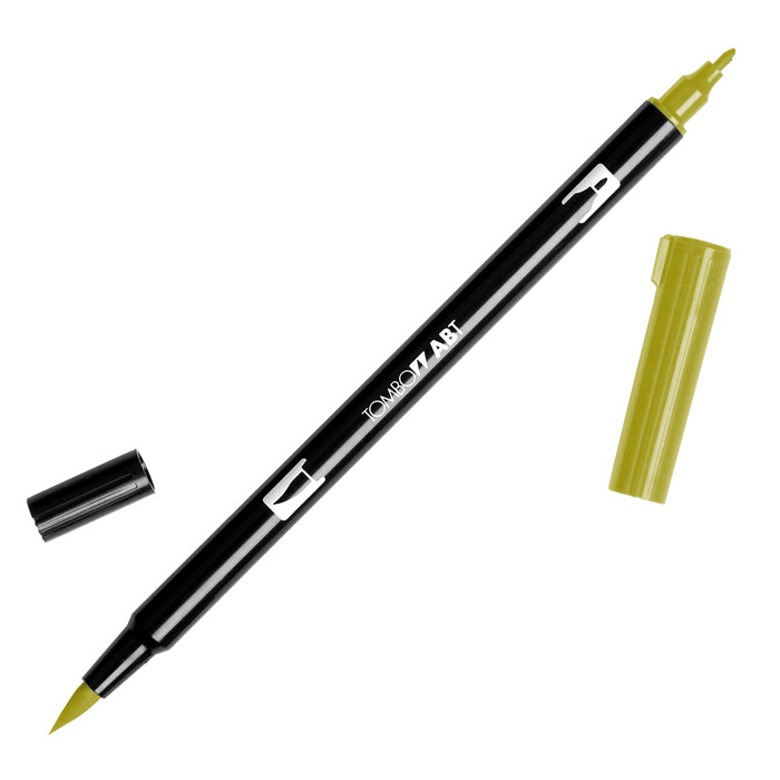 Tombow Dual Brush Marker - Green Ochre 076