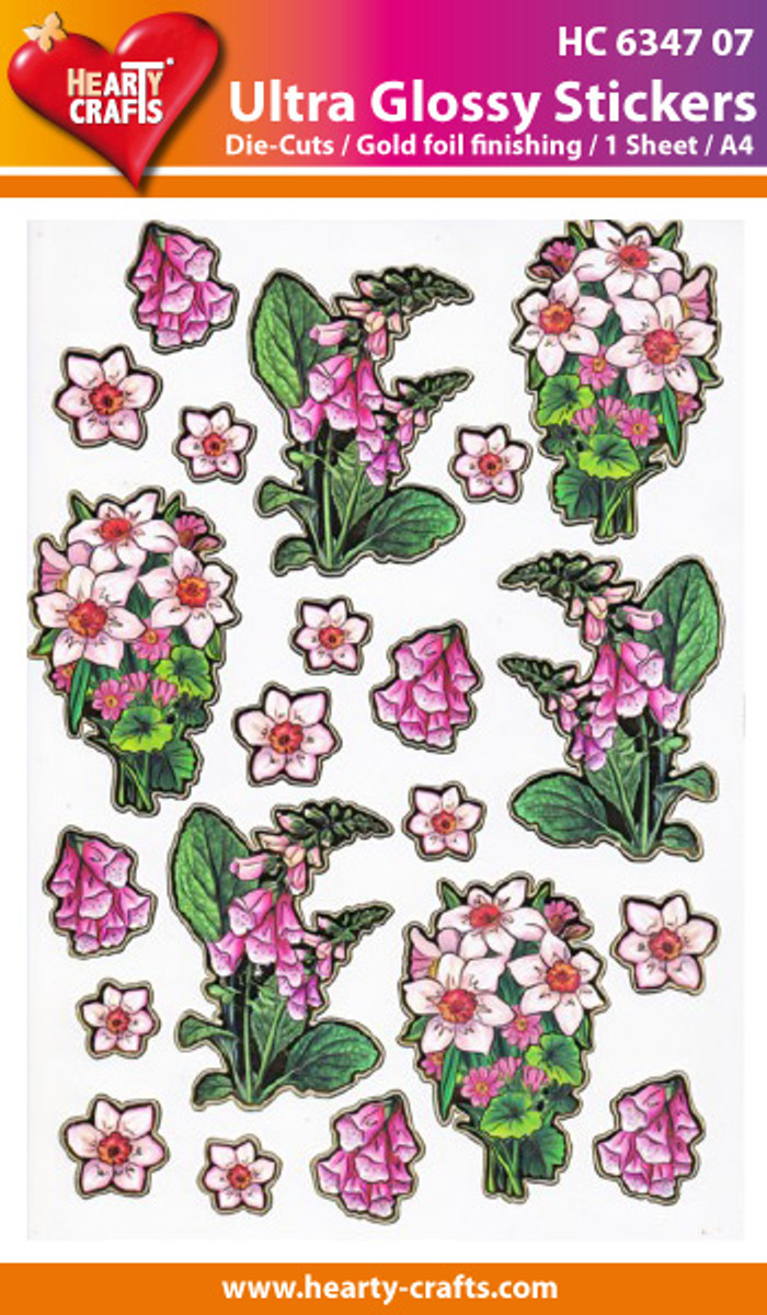 Hearty Crafts Ultra Glossy Stickers - Flowers 707