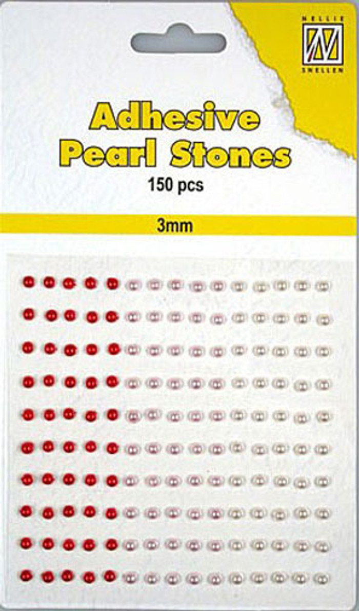 Nellie Snellen Self-Adhesive Pearls - 150 x 3mm - 3 Shades of Red