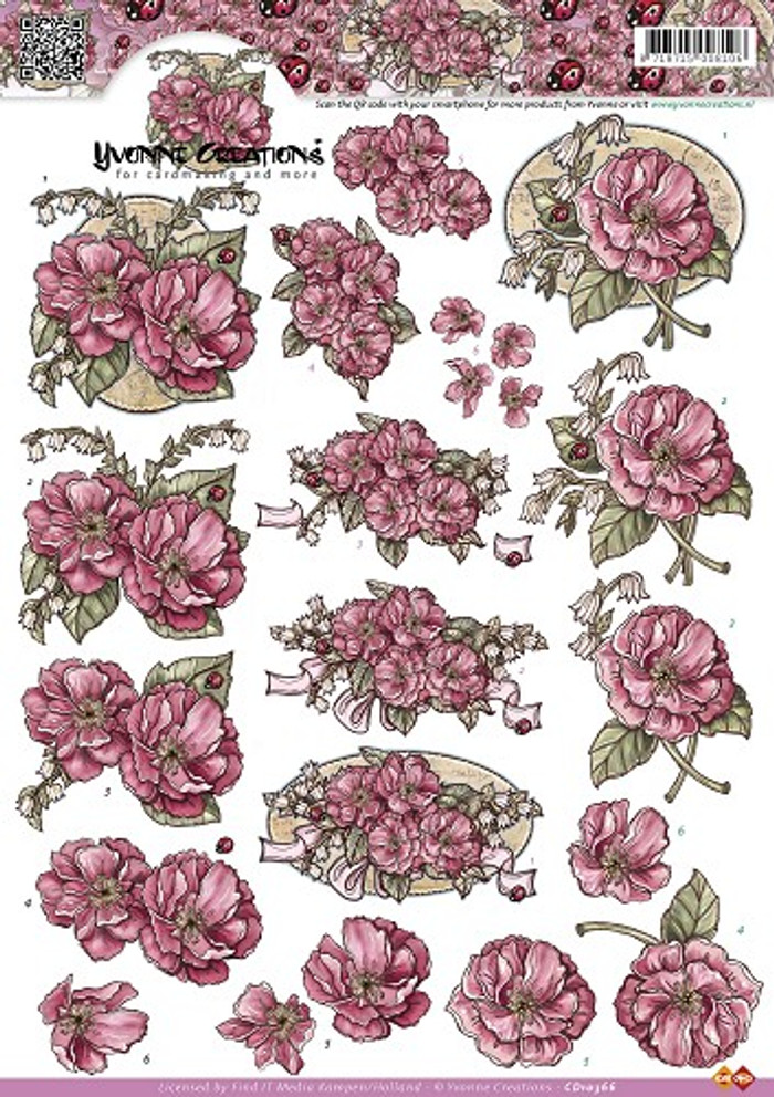 3D Sheet Yvonne's Creations  - Roses  CD10366