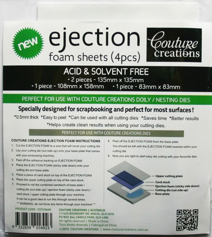 Couture Creations Ejection Foam for Dies - Pack 4