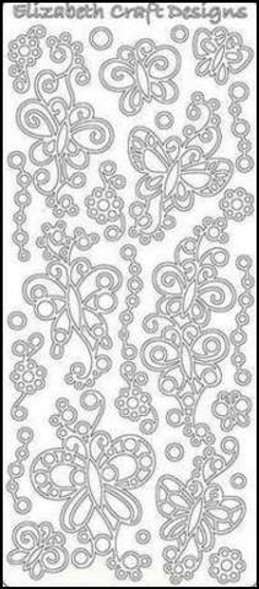 Elizabeth Craft Peel-Off Sticker - Doodle Butterflies SILVER 362