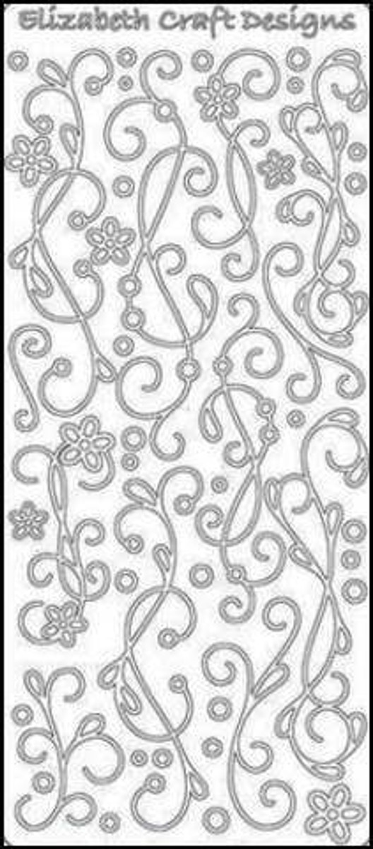 Elizabeth Craft Peel-Off Sticker - All Occasions Doodles SILVER 440D