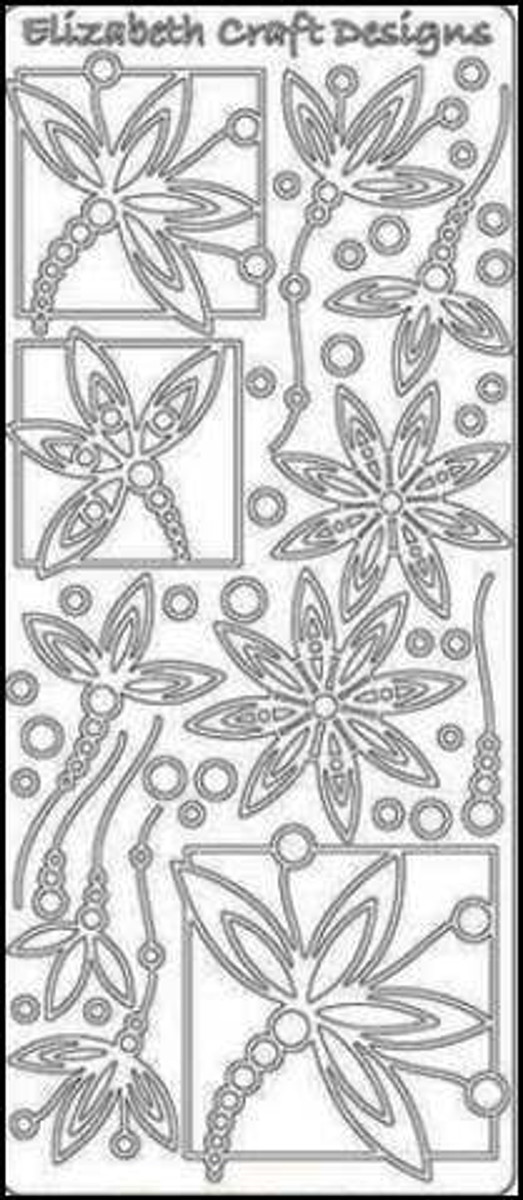 Elizabeth Craft Peel-Off Sticker - Fantasy Flowers SILVER 442D
