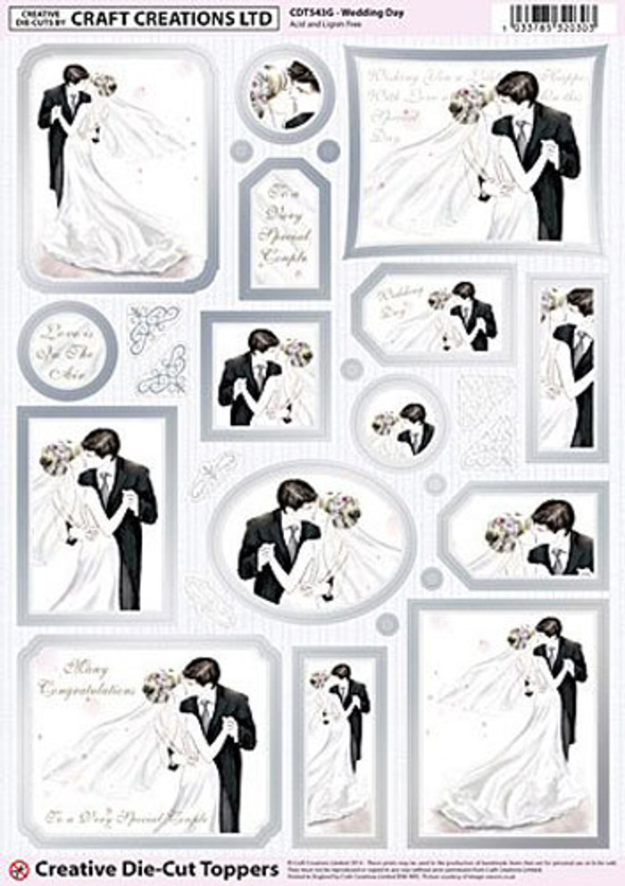 Craft Creations A4 Die-Cut Topper Sheet - Wedding Day