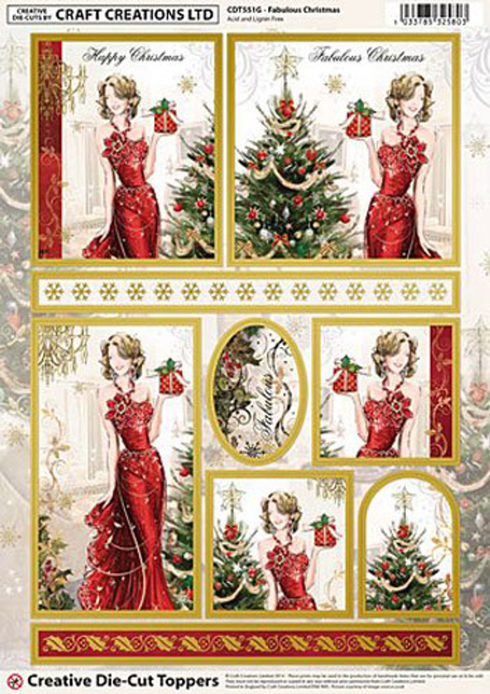 Craft Creations A4 Die-Cut Topper Sheet - Fabulous Christmas