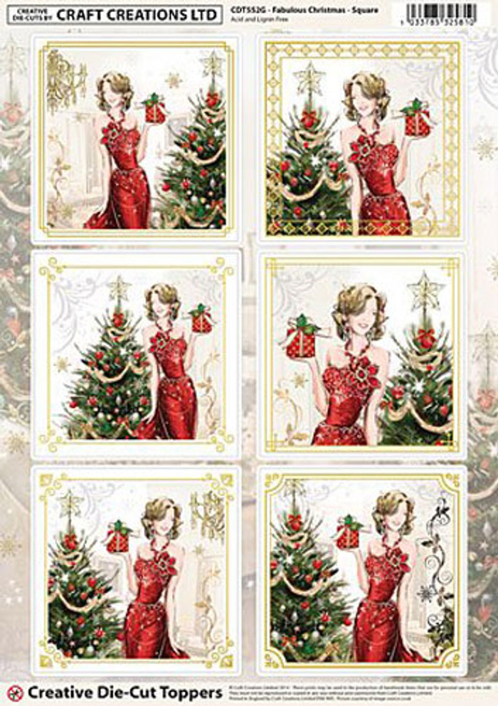 Craft Creations A4 Die-Cut Topper Sheet - Fabulous Christmas - Square