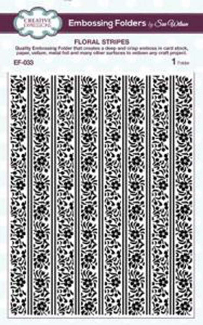Sue Wilson Embossing Folder FLORAL STRIPES EF-033