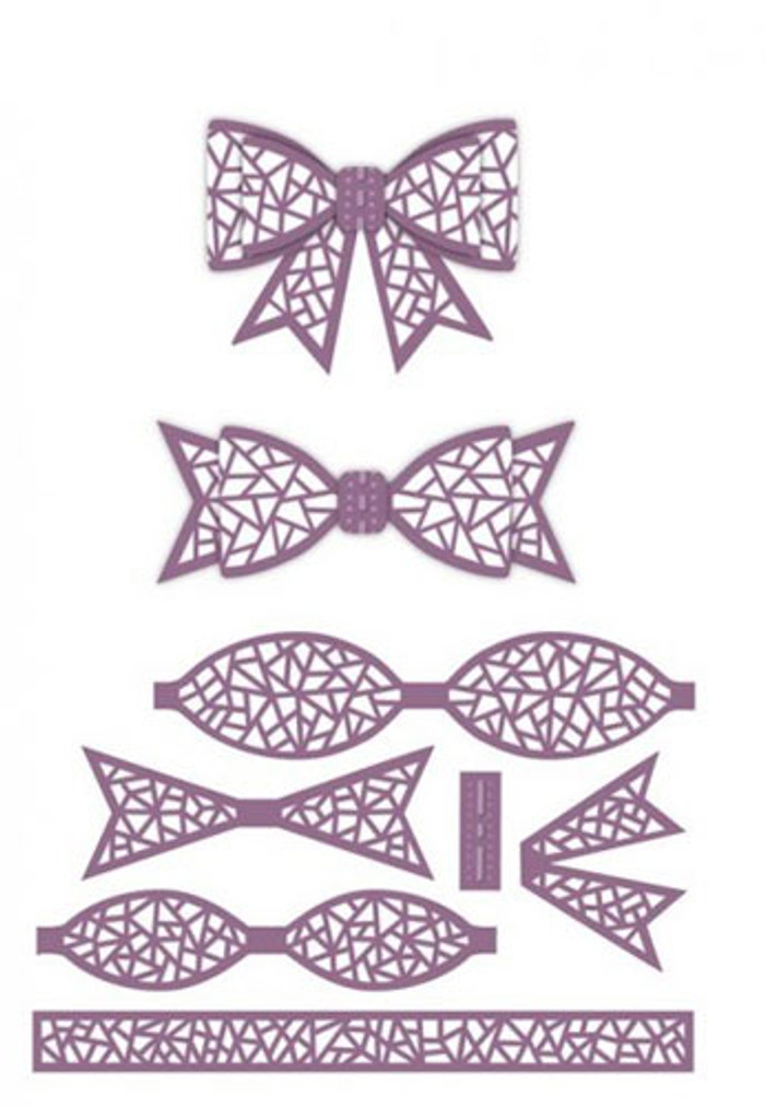 Sue Wilson - The Finishing Touches Collection - Mosaic 3D Bow Dies CED1413 - Pre-Order 15% Off