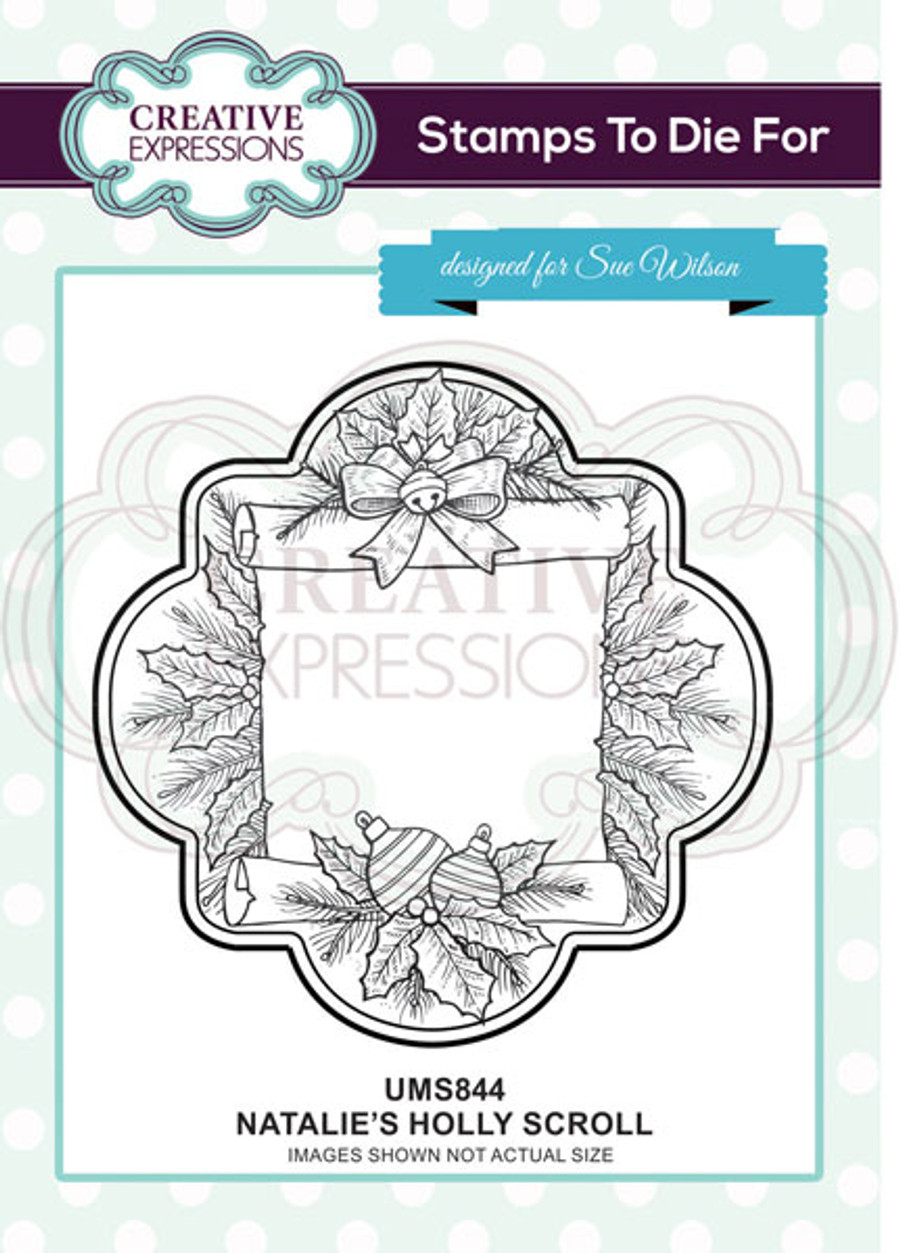 Sue Wilson Stamps To Die For - NATALIE'S HOLLY SCROLL UMS844