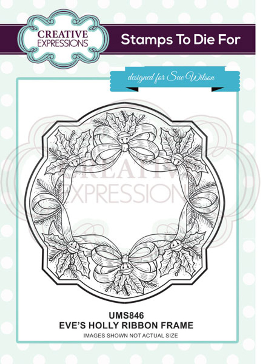 Sue Wilson Stamps To Die For - EVE'S HOLLY RIBBON FRAME UMS846