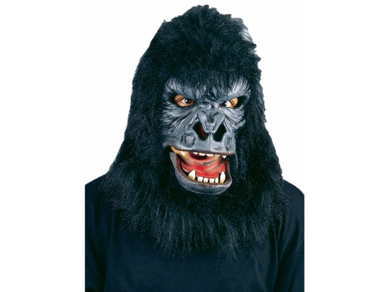 Latex rubber face mask with moveable mouth and faux fur hood. Elastic straps provide a  sc 1 st  House Of Hauntz & Roaring Gorilla Face Mask | Be Realistic To Rule The Jungle!