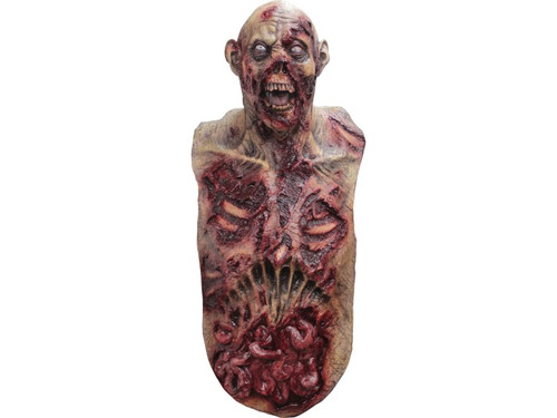 Perfect finishing touch to your zombie costume. Fearsome zombie mask with attached chest piece with blood stains and innards visible. 100% latex piece. Full over-the-head mask. One size fits most adults.