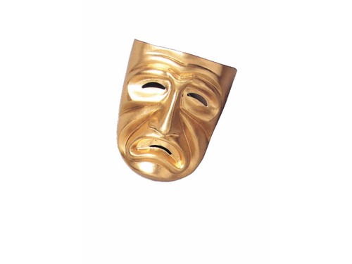 Plastic full face gold tragedy theater mask. A very durable plastic with a strap around head. Goes well with the Gold Comedy Mask.