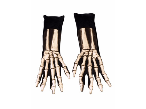 Cool latex skeleton detailing on upper hand and wrist attached to black gloves for ease of movement. These do not glow. Horrific look! One size fits most adults.