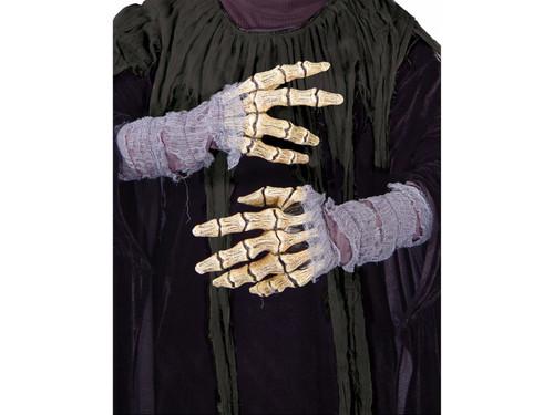 Long wearing latex character hands, individually hand painted with an aged brown look has rotted-looking gauze at wrists. Creepy!