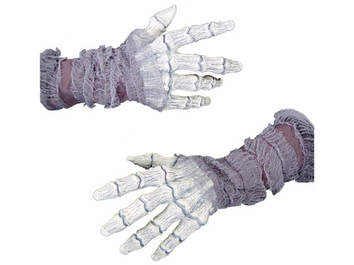 Long wearing latex character hands, individually hand painted with a white ghostly look for the most gruesome effect possible.