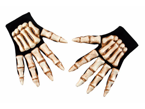 Complete any scary costume with these skeleton hands.  One size fits most adults. Easy to wear fabric gloves with vacu form plastic set of bones on the back of the hand.