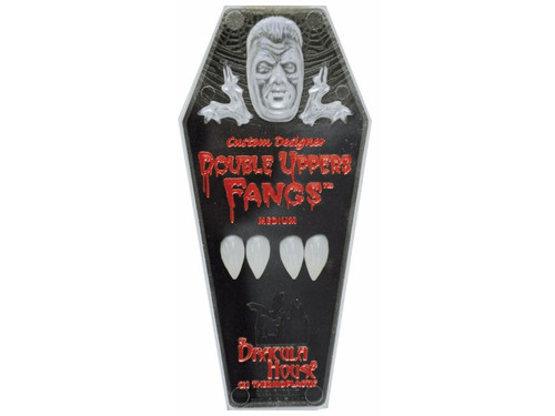 Instead of one set of Dracula fangs, you now have two. These great looking fangs fit over your own teeth for the most realistic look possible. Adhesive included.