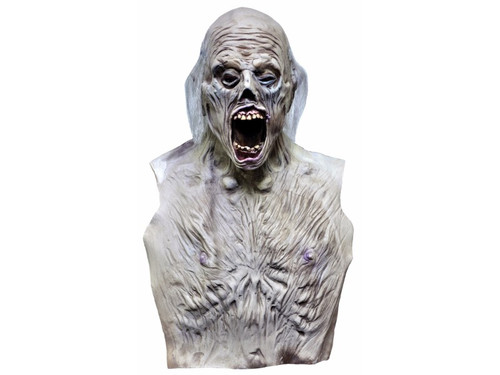 Mega monster mask! You just add hands and a robe to complete the costume! Corpse body with grave detailing. 28 inches tall from top of the head to the bottom of the bib and 17 inches wide. Chest bib measures 15 long.
