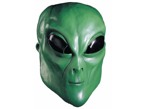 Hand painted full over-the-head latex mask. Green alien with black eyes. One size fits most adults.