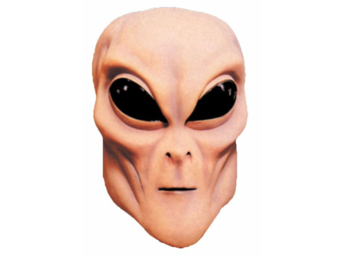 Hand painted full over-the-head latex mask. Flesh colored alien with black eyes. One size fits most adults.
