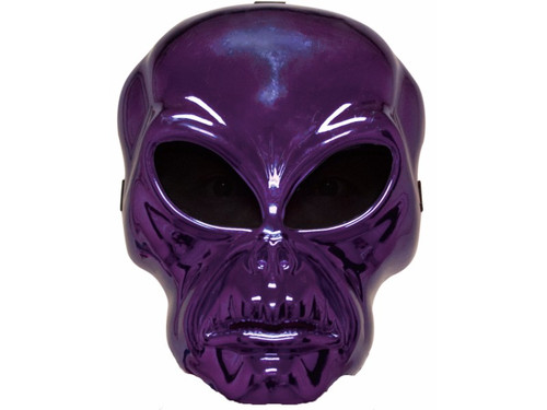 Plastic face mask with metallic purple finish, netted eyes & elastic strap. Hockey style masks are lightweight, easy to wear, and oh-so creepy! Masks include foam square at forehead for added comfort and wearability. One size fits most