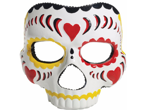 Brightly colored mask perfect for celebrating Mexico's Day of the Dead!! Female mask. Red, Yellow, Black. One size fits most.