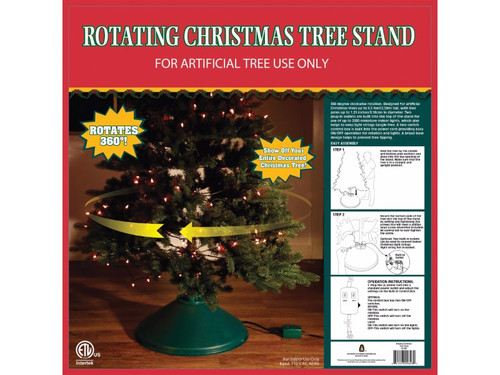 Show off your entire decorated Christmas tree, with this 360 degree rotating artificial Christmas tree stand! You can use up to 2000 Mini Lights! Plugs for lights are built into the stand to keep wires from getting tangled. Made for artificial Christmas trees only, with tree poles up to 1.25' diameter and up to 8.5 feet tall. Control box has two switches: one for turning on lights, and one for rotation. Also perfect for stringing lights or garland! Just stand in one place, turn on the rotating stand, and let the lights wrap themselves! Includes (1) green stand. Easy on/off operation for rotation and lights. A broad base design helps to prevent tree tipping. For indoor use only. Easy assembly and operation instructions included. Input: 110 V AC, 60 Hz.