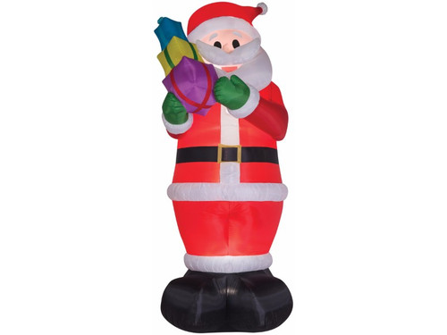 Bring an enormous amount of Christmas cheer to your neighborhood with this colossal 16 foot tall inflatable Santa! This impressive Santa decoration has an LED light inside to make him glow all night long. The inflatable prop is easy to use and includes everything needed for set-up. Simply plug into a 110 outlet and the Santa self-inflates in seconds and deflates for easy storage. The weather-proof fabric makes this inflatable a perfect indoor or outdoor Christmas decoration.