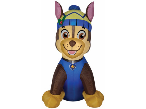 This inflatable is sure to make the kids in your house and all their friends in your neighborhood excited for Christmas! Chase, their favorite character from the popular cartoon Paw Patrol, has now become the coolest inflatable! Perfect for putting outside for your Christmas display! Great for outside use under gentle elements thanks to weather-proof fabric, has everything needed to mount item in yard, and works on electricity so no need for batteries. 36 inches by 31 inches by 25 inches.