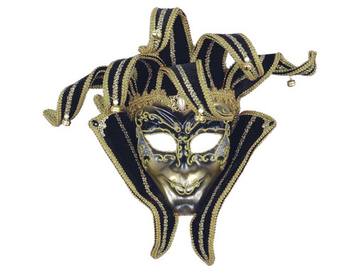 Elaborate silver mask with gold glitter accents has black velvety top tabs like a jester with golden braid and jingle bells on each. Jewel accents and trims throughout. Masquerade face mask. One size fits all.