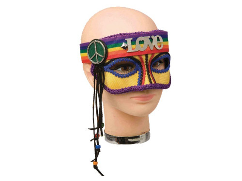 "A wonderful eye mask that brings up memories of the glorious 60's! Top of the mask is rainbow headband that spells ""love"" with peace sign and tassels hanging from side while mask is yellow with different colors running along nose of mask, under and over the eyes and around mask itself! Cool!"